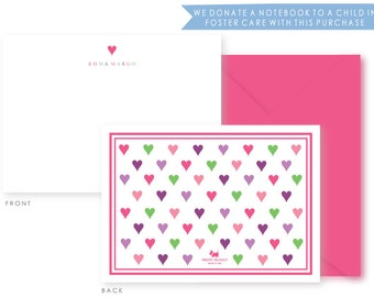 Limited Edition, Personalized Kids Stationery, boxed set of 10, Hearts