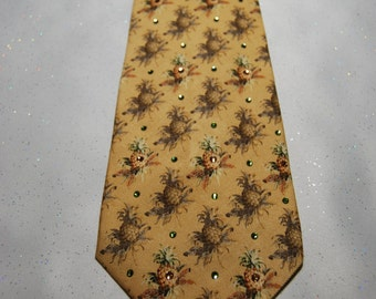 Yellow pineapple rhinestone necktie