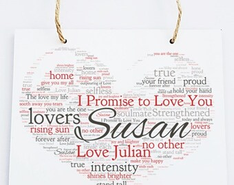 Personalised Love Word Art Wooden Hanging Plaque - I Promise