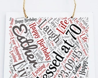 70th/80th/90 Personalised Birthday Word Art Hanging Plaque