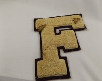 Vintage Varsity High School Letterman's Letter F High School Patch with pins