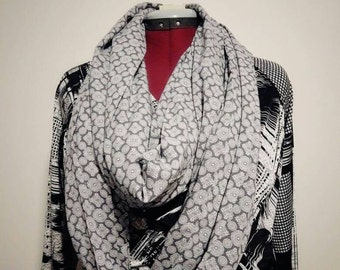 Long, stylish handmade infinity scarf - grey flowers