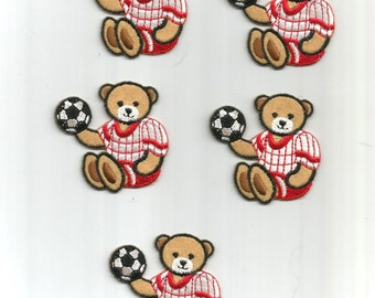 5 pc Red White soccer Sports Playing Bears Uniforms Iron On Patch Applique 060616