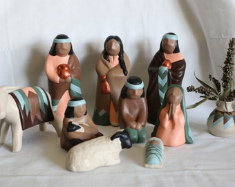 Southwest Navajo Style Ceramic Nativity, Browns, Peach and Greens