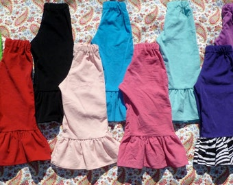 Custom Single Ruffle Corduroy Pants for Girls 0 - 8 Years Choose your Colors and Fabrics