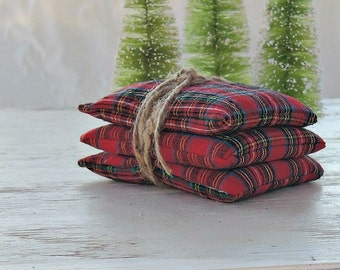 Plaid Lavender or Balsam Sachets Set of 3, Organic Lavender, Lavender Pillows, Natural Aroma Therapy