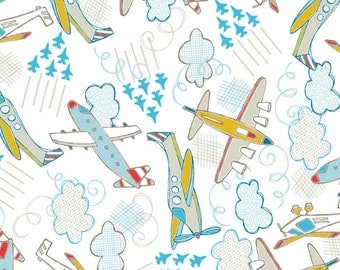 Planes Fabric in White Fabric FLANNEL From Camelot