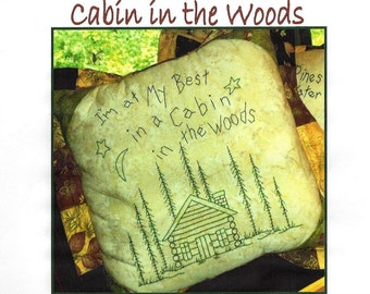 Northwoods Memories Cabin in the Woods - 10 inch square Redwork Hand Embroidery Pattern by Beth Ritter - Instant Digital Download