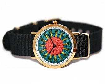 WATCH -Setting Sun - Kaleidoscope Mandala style watch