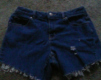 Highwaisted Distressed Denim Shorts Size 6 (Can be made to order)