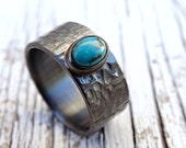 mens turquoise ring, wide mens ring turquoise, black silver ring, rustic wedding band, mens promise ring rustic, cross hammered silver ring