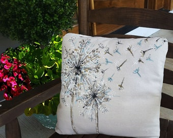 Dandelion,  Spring and Summer, Decorative Bed Pillows, Indoor/Outdoor, Hand-painted, Pillow Cover