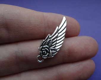 Angel Wing Charm Double Sided 31x11mm 10 pcs A017