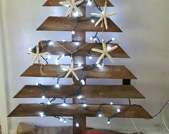 Shabby chic reclaimed wood Christmas tree.