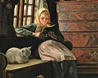 Sunday afternoon with a girl reading by Michael Peter Ancher (1849 – 1927, Danish) 11x14 art print