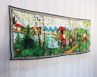 Wall hanging carpet. Soviet Union Vintage fairy tale forest landscape, 63'' / 160 cm fringed, printed textile wall hanging, made in USSR