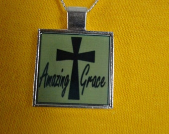 Necklace with cross and Amazing Grace