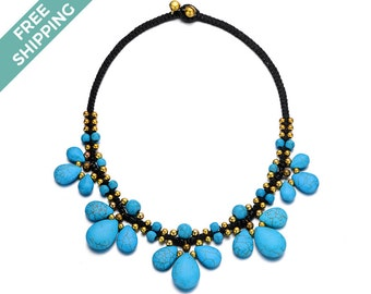 Blue/ Turquoise Stone Necklace with Gold and Black Beads