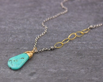 Ma'anshan Turquoise Briolette Mixed Metals Oxidized Sterling Silver and Gold Filled Gemstone Pendant Necklace