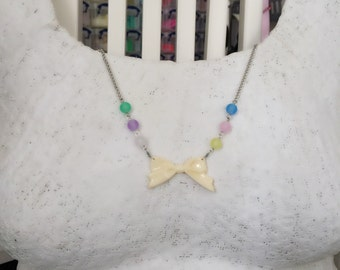 Pastel beaded Ribbon pendant necklace