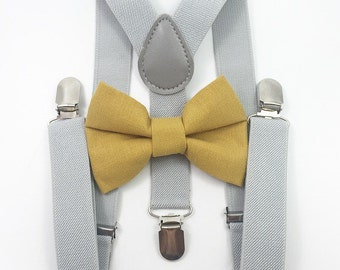 FREE DOMESTIC SHIPPING! Light gray suspenders and mustard yellow bow tie fall photos holiday photoshoot family pictures