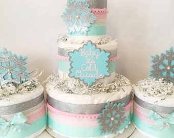 Winter Baby Shower Set of 3 Diaper Cakes, Baby It's Cold Outside Baby Shower, Centerpieces