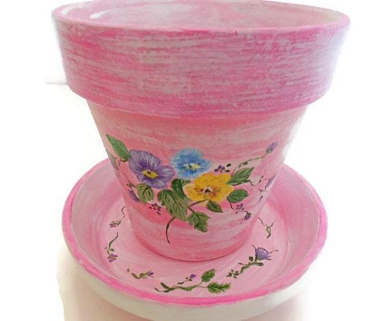 Hand painted clay pots terra cotta pot indoor outdoor for Fancy flower pots