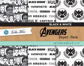Avengers Black & White Letter Sized Paper Pack : 18 Printable Digital Scrapbook Papers
