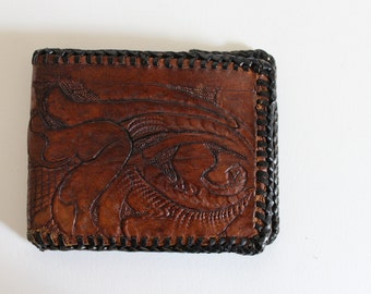 Dark Tooled Leather Bi-Fold Wallet with Initials R and D Lettering Design