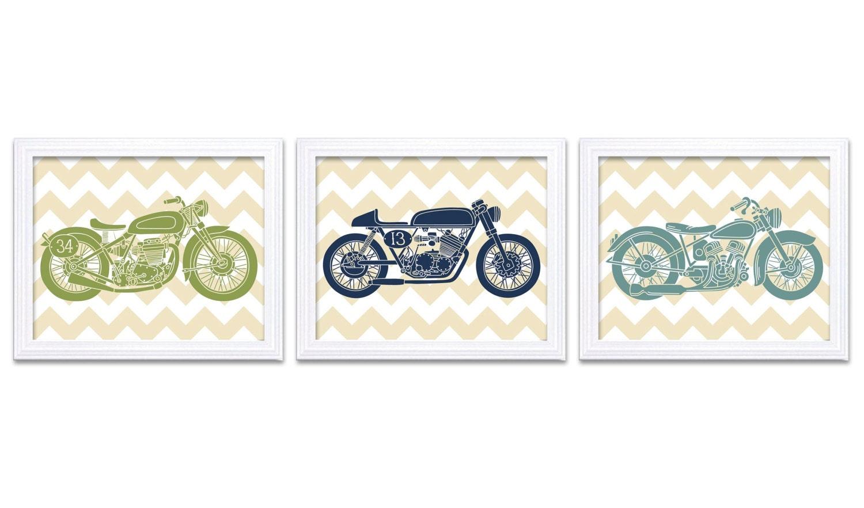 Motorcycle Nursery Art Nursery Prints Transportation Set of 3 Prints Teal Navy Blue Lime Green Beige