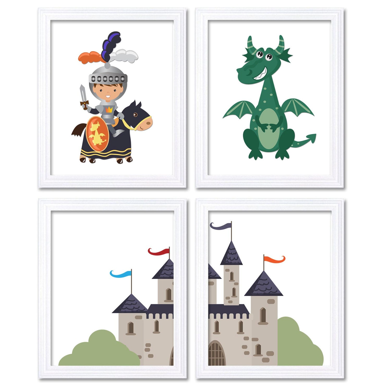 Fairy Tale Nursery Art Child Baby Set of 4 Art Prints White Grey Navy Blue Orange Teal Boy Knight Dr