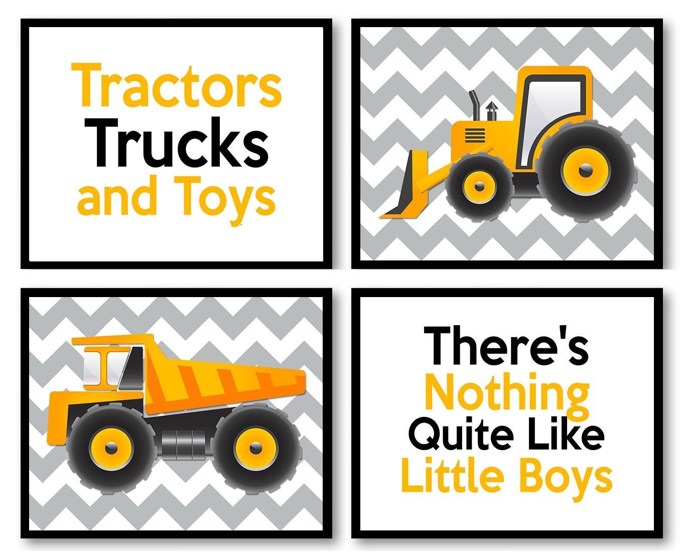Tractor Truck Little Boys Transportation Construction Vehicles Heavy Machinery Set of 4 Prints Nurse