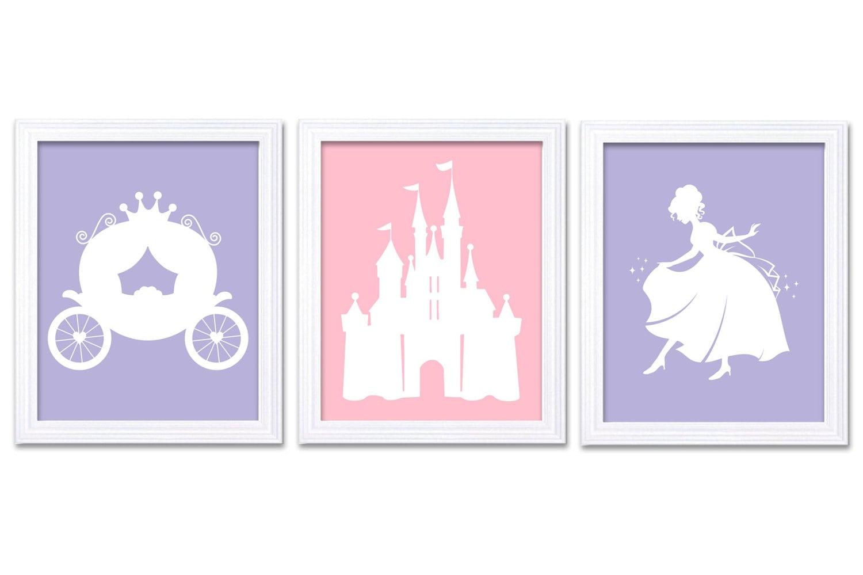 Princess Nursery Art White Pink Lilac Purple Set of 3 Prints Child Art Kids Room Wall Art Baby Girl