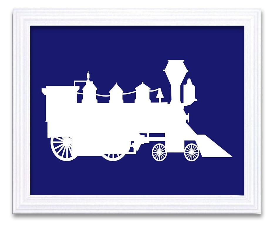 Train Nursery Art White Navy Blue Boys Kids Room Wall Art Print Boys Old Transportation Antique Vint