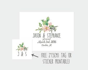 Elopement announcement, we eloped, got married, DIY wedding, cactus printable (DP99)