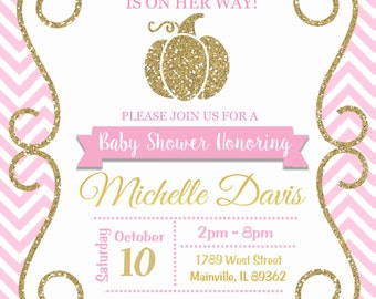 Pumpkin Baby Shower Invitation, Fall, Halloween, Birthday Party - Printable or Printed with FREE SHIPPING