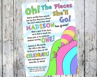 Oh the places you will go, Seuss, Birthday Party Invitation -  Printable or Printed