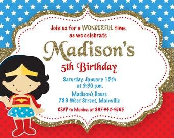 Wonder Woman Superhero Birthday Party Invitation - Printable or Printed