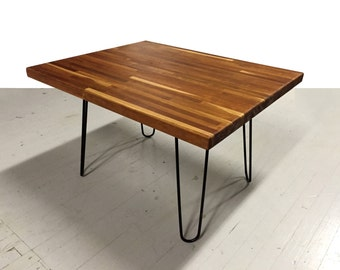 Salvaged Butcher Block Coffee Table with Hairpin Legs