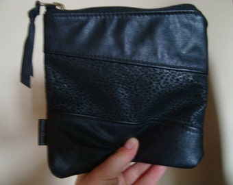 black leather clutch//pouch//recycled leather