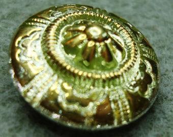 Czech Glass Button 23mm - hand painted - uranium/vaseline glass (B23311)