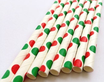 Green and Red Spotty Paper Straws