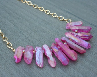 Fuchsia Quartz and Gold Statement Necklace // Bridesmaid // Gifts for Her // Stocking Stuffer