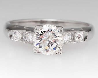 1950s Retro 1.12 Carat Diamond Engagement Ring 14K White Gold WM11464