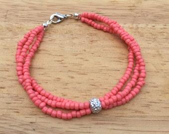 Coral Beaded Bracelet, Peach Bracelet, Pink Seed Bead Bracelet, Dainty Coral Bracelet, Silver Jewelry, Minimalist Bracelet, Coral Bracelet