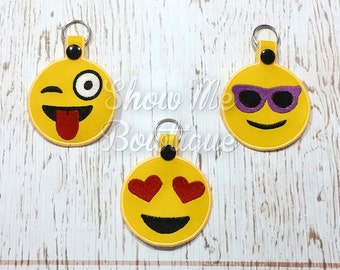 Satin Stitch Finish edge Emoji Set 1 4x4 Key fob/zipper pull
