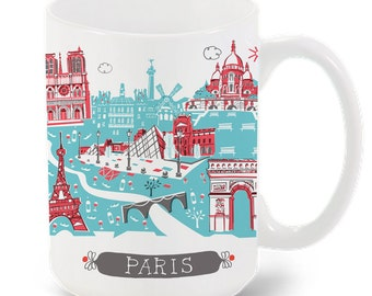 Paris Mug-City Mug-Coffee-Tea-Kitchen-France Mug-Custom Mug Packaging-Mug Gift-Personalized-Custom