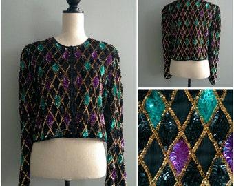 Vintage Diamond Pattern Black Sequin Jacket   80s Beaded Gold Green Purple Black Long Sleeve Party Evening Blazer