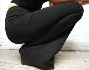 Black Knit Bell Bottoms Rocker Music Festival Bellbottoms Highwaist Velvet Flares Bell Bottom Flared Leggins Velvet Pants