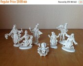 On Sale Vintage White Plastic Nativity Figurine of Mary Joseph Baby Jesus Three Wise Men and a Shepard Boy